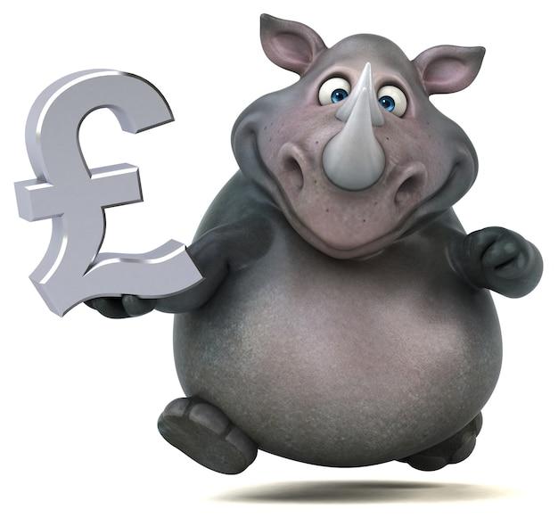 Забавный носорог 3d иллюстрации