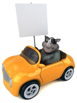 재미있는 코뿔소 - 3d 일러스트레이션