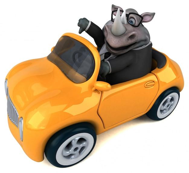 Забавный носорог - 3d иллюстрация