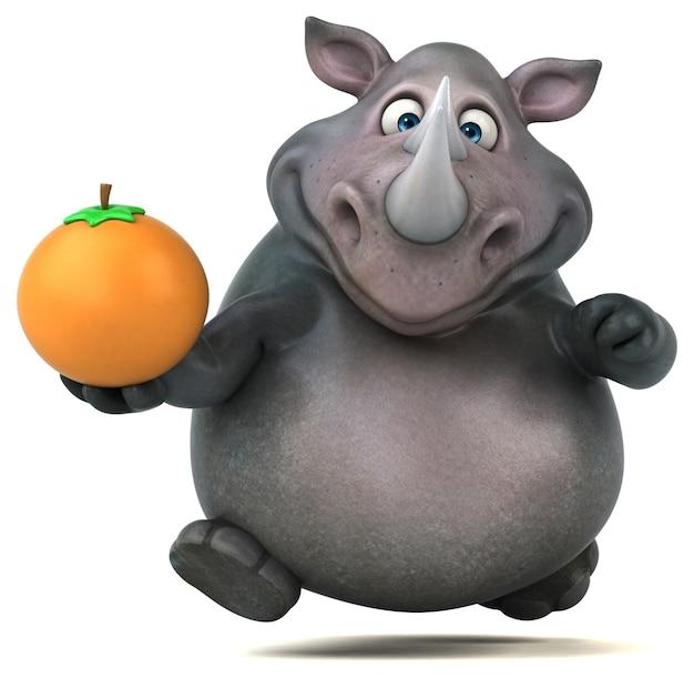 Забавный носорог - 3d иллюстрации