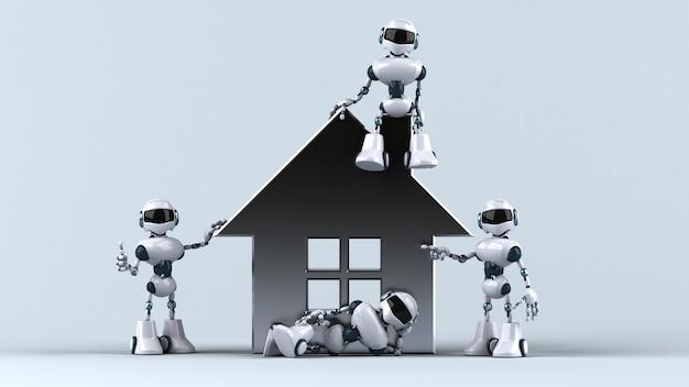 Fun robots next to a house