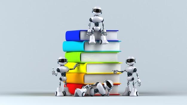 本の横にある楽しいロボット
