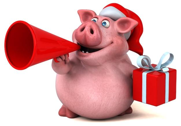 Веселая анимация санта-свинья