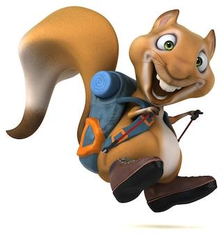 Весело белка рюкзаком мультипликационный персонаж