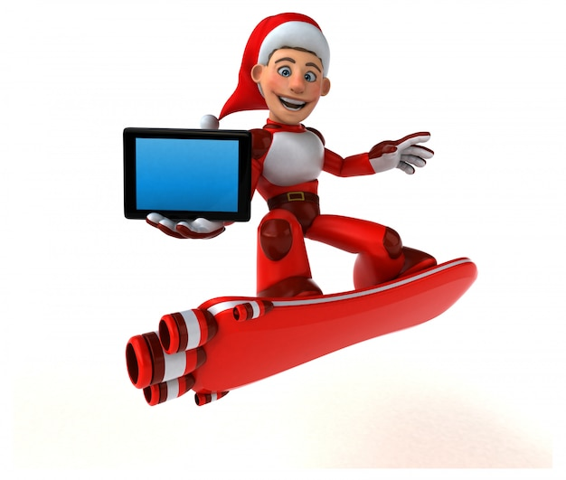 Fun super santa claus 3d illustration