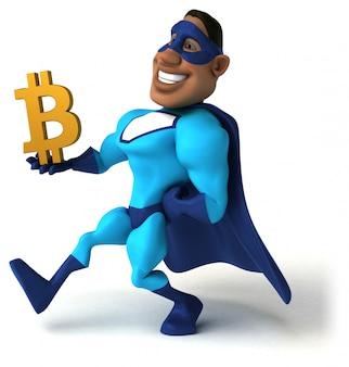 Fun superhero character isolated - 3d illustration