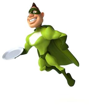 空の皿を持っている楽しいスーパーヒーロー
