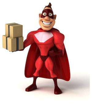 Забавная иллюстрация супергероя