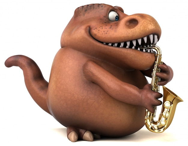 Fun trex character isolated - 3d illustration