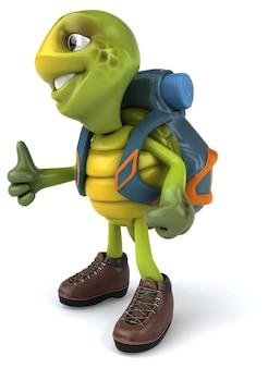 Fun turtle traveling illustration