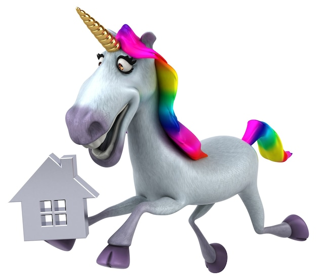 Fun unicorn - 3d illustration