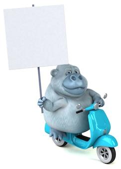 Забавная белая горилла - 3d иллюстрации