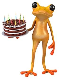 Забавная желтая лягушка 3d иллюстрация