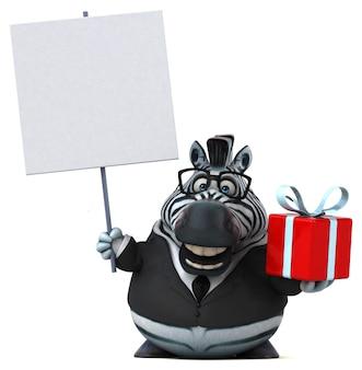 Забавная зебра 3d иллюстрация