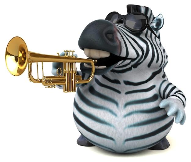 Забавная зебра - 3d иллюстрации