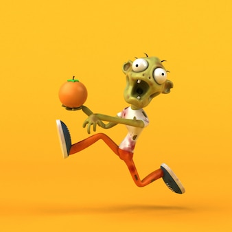 Fun zombie character isolated - 3d illustration