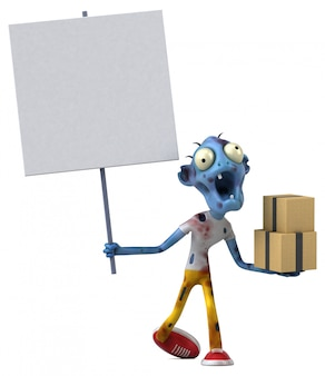 Fun zombie with boxes and blank board