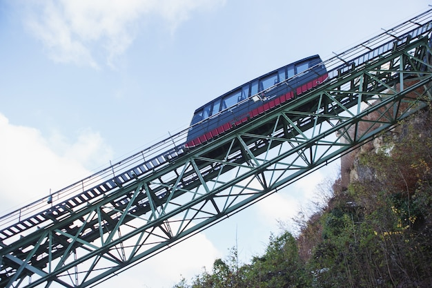 A funicular railway car in its way to hohensalzburg fortress.