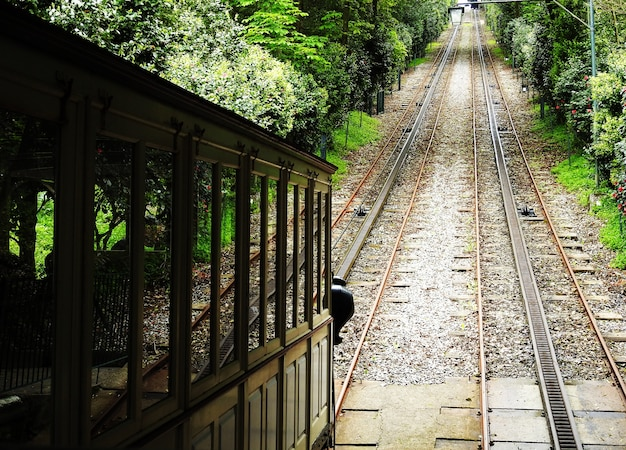 ブラガ、ポルトガルのボムイエスに昇る電車列車。