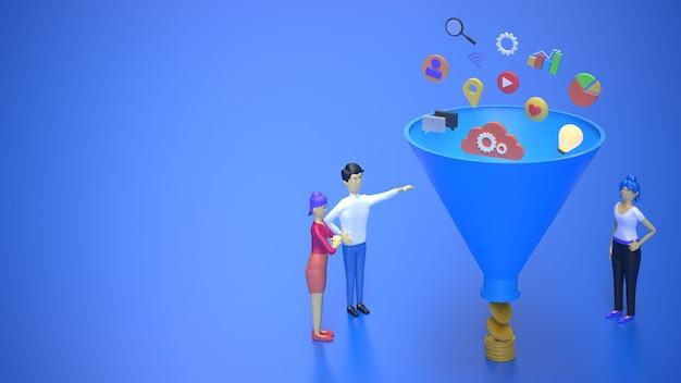 3d визуализация продаж воронки продаж маркетинг в социальных сетях и создание новых потенциальных клиентов