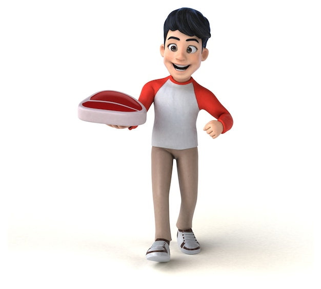 Funny 3d asian teenager in manga style