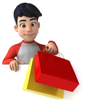 Funny 3d asian teenager with shopping bags