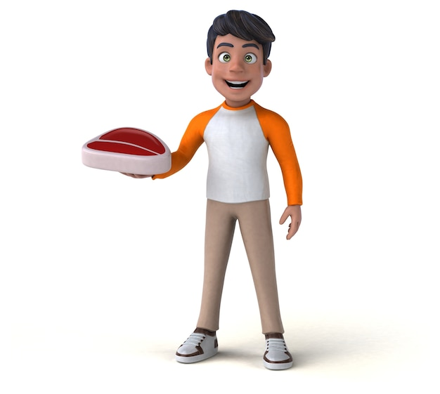 Funny 3d cartoon asian teenager