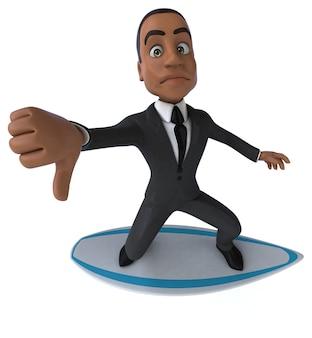 Funny 3d cartoon business man surfing