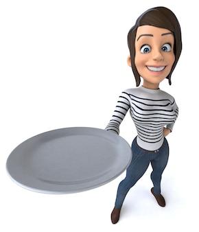 Funny 3d cartoon casual character woman