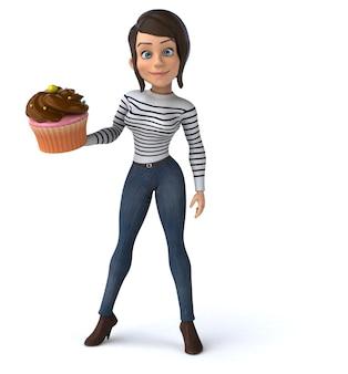Забавный 3d мультфильм случайный персонаж женщина