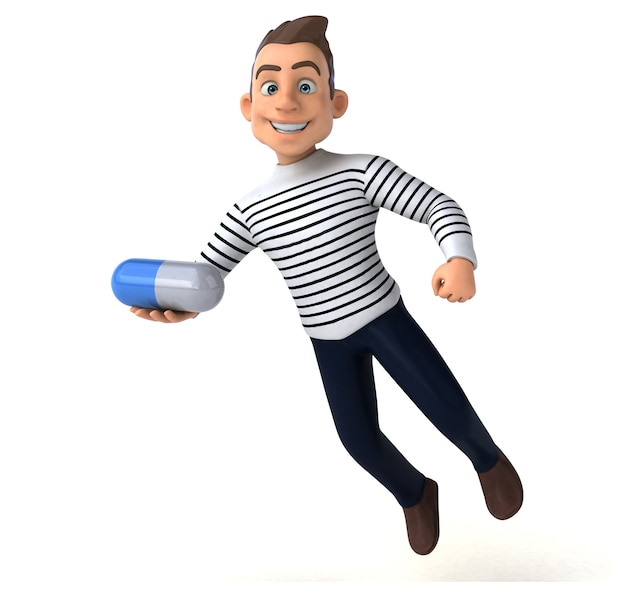 Funny 3d cartoon casual character