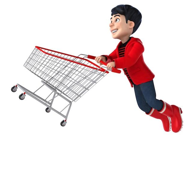 Funny 3d cartoon teenage boy shopping