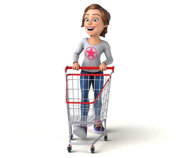 Funny 3d cartoon teenage girl shopping