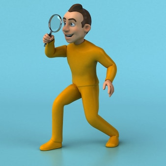 Funny 3d cartoon yellow character with magnifying glass
