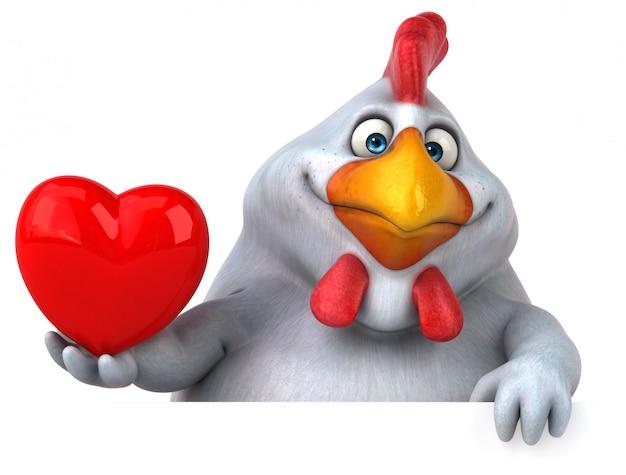 Смешная 3d курица иллюстрация держит сердце