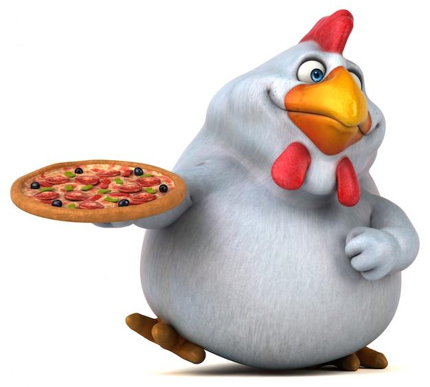 Смешная иллюстрация цыпленка 3d держа пиццу