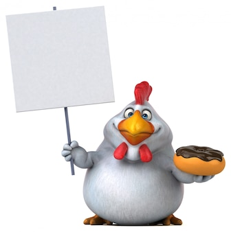 Смешная иллюстрация 3d цыпленка держа плакат и пончик