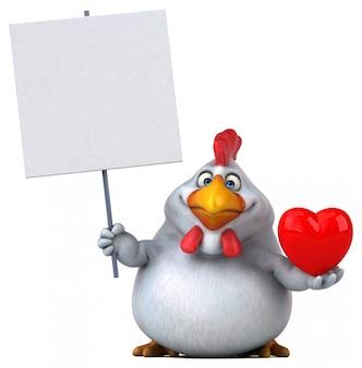 Смешная иллюстрация 3d цыпленка держа плакат и сердце