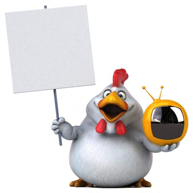 Смешная 3d курица иллюстрация с плакатом и маленьким телевизором