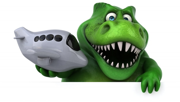 Funny 3d dinosaur character holding a toy plane