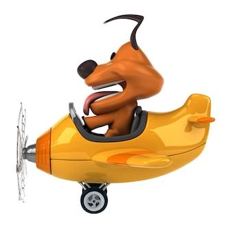 飛行機を飛んでいる面白い3 d犬のキャラクター