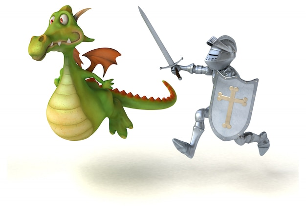Funny 3d dragon chased by an armored knight