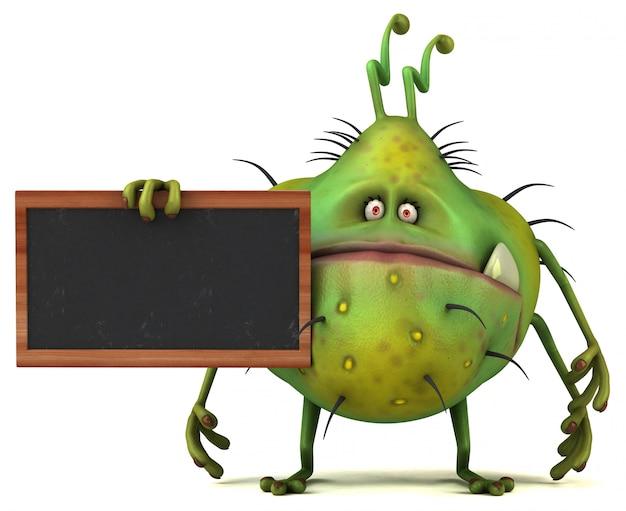 칠판으로 재미있는 3d 세균 버그 괴물