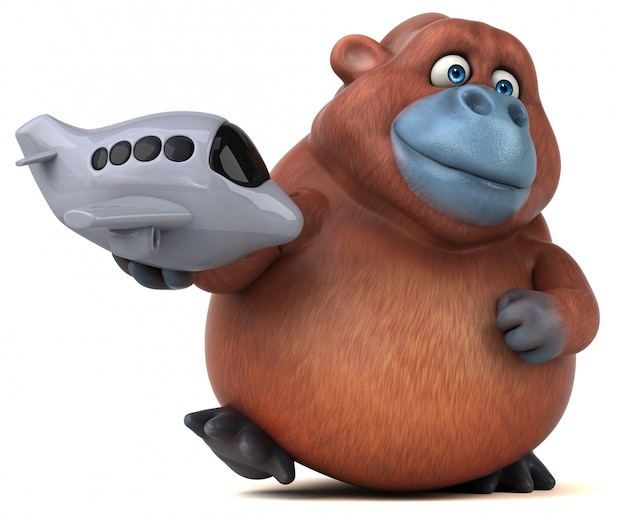 Funny 3d gorilla character holding a toy plane