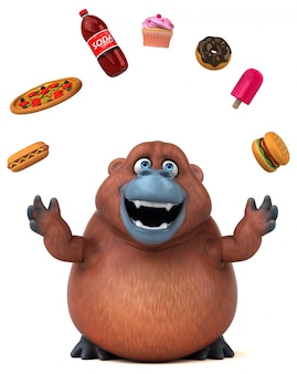 Funny 3d gorilla character juggling with food