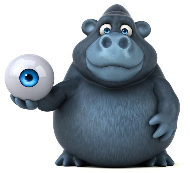 Смешная горилла 3d держит негабаритный глаз