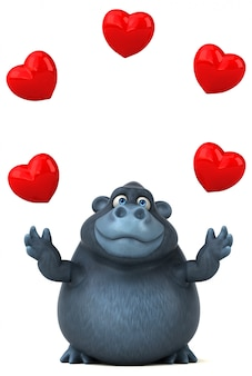 Funny 3d gorilla juggling hearts
