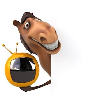 小さなテレビを保持している面白い3 d馬のキャラクター