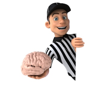 Funny 3d illustration of an american referee with a brain