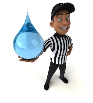 Funny 3d illustration of an american referee